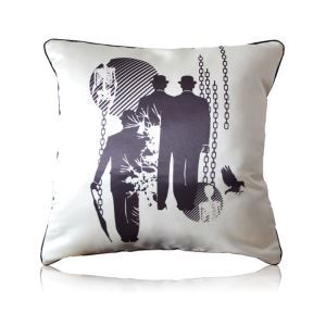 Gothic Style Night Old Man Skull Crow Pattern Pillow Cover