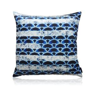 Japanese Fan Shaped Blue Satin Printing Pillow Cover