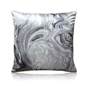 Modern Ink Flow Printing Black And White Marine Satin Pillow Cover