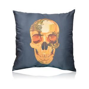 Baroque Style Skull Pattern Stain Printing Pillow Cover