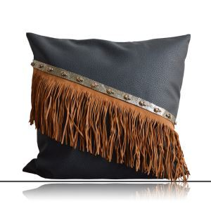 Modern Industrial Style Manual Tassel Like Leather Pillow Cover