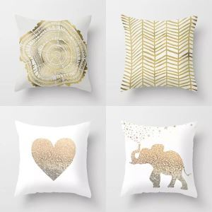 Modern Simple Super Soft 3D Printing Heart-shape English Letter Geometric Wood Grain Gold Cotton And Linen Car Sofa Pillow Cover