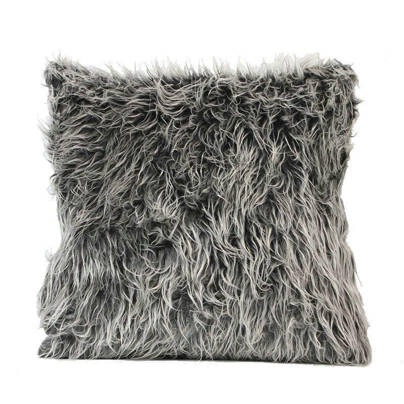 European Simple Faux Fur Fuzzy Dark Grey Pillow Cover