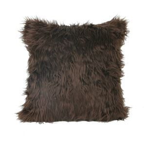 European Simple Faux Fur Fuzzy Coffee Pillow Cover
