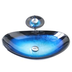 Modern Fashion Oval Blue Black Border Tempered Glass Vessel Sink With Waterfall Faucet Mounting Ring and Water Drain Set
