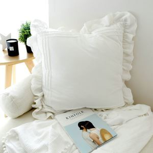 American Village Lace Flounce Edge Cotton White Large Embroidered Pillow 60*60cm