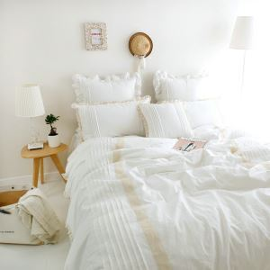 American Village Manual Customization Washing Cotton Bedding White 4 Pieces Suit