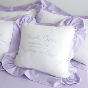 American Village Pure Cotton Flounce Edge Letter Embroidery Purple Pillow Cover
