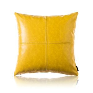 Modern Simple Yellow Crazy Horse Leather Cushion PU Faux Leather Sofa Pillow Cover Car Office Lumbar Pillow Cover