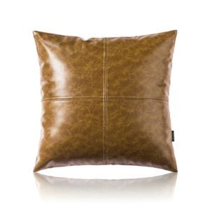 Modern Simple Yellow-Brown Crazy Horse Leather Cushion PU Faux Leather Sofa Pillow Cover Car Office Lumbar Pillow Cover