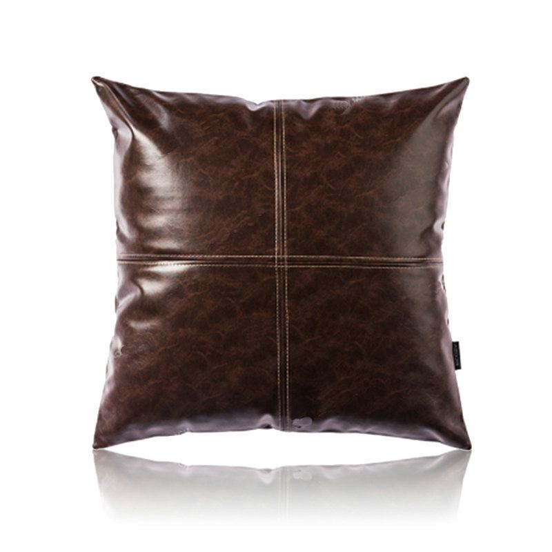 Pillows Leather Sofa: Modern Simple Brown Crazy Horse Leather Cushion PU Faux