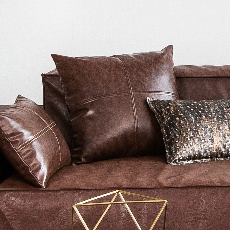 modern simple brown crazy horse leather cushion pu faux leather sofa pillow cover car office. Black Bedroom Furniture Sets. Home Design Ideas
