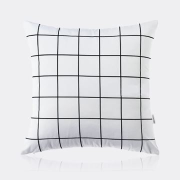 Nordic Modern Super Soft Velvet Black And White Square Grid Pattern Pillow Cover Sofa Cushions