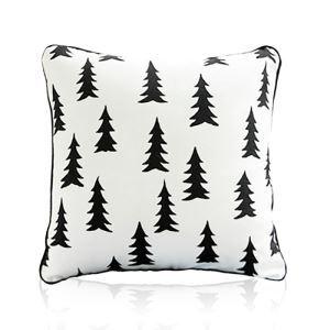 Nordic Modern Velvet Super Soft Creative Cartoon Black And White Christmas Tree Pattern Pillow Cover Sofa Cushions Cover