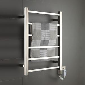 60W Mirror Brushed Wall Mount Square Pipe Towel Warmer Drying Rack