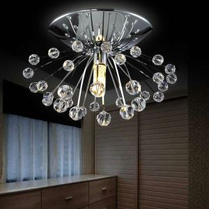 Free Shipping Mini Modern Chrome Plating Crystal Flush Mount Dandelion Entrance Lights For Living Room Bedroom Dining Room