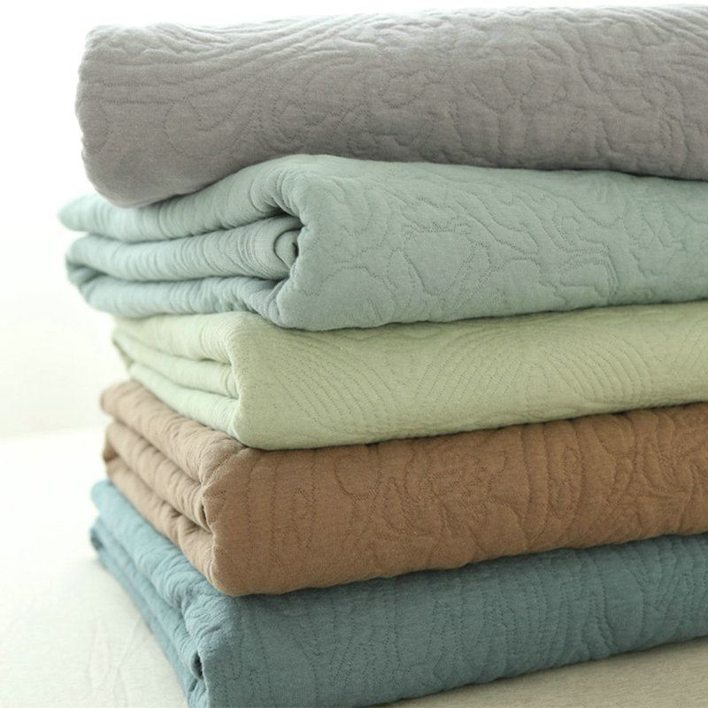 Modern Simple Cotton Plain Color Quilted Blanket Summer