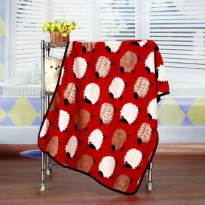 Modern Flannel Red Cartoon Sheep Pattern Baby Blanket Children Bath Towel Summer Blanket