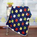 Modern Flannel Blue Cartoon Cat Pattern Baby Blanket Children Bath Towel Summer Blanket