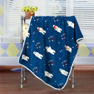 Modern Flannel Cartoon Polar Bear Pattern Baby Blanket Children Bath Towel Summer Blanket 2 Colors