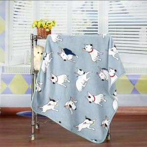 Modern Flannel Cartoon Pet Dog Pattern Baby Blanket Children Bath Towel Summer Blanket 2 Colors