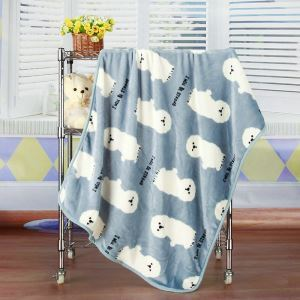 Modern Flannel Cartoon Pet Dog Pattern Baby Blanket Children Bath Towel Summer Blanket 3 Colors
