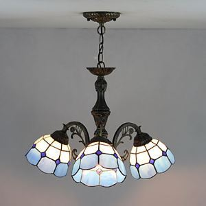 60W Modern Tiffany Style Chandelier with Blue Shades
