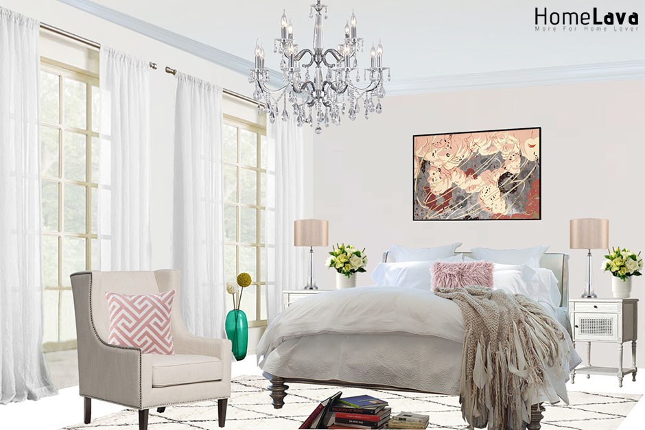 Example of a traditional bedroom design with gray walls