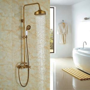 Antique Brushed Finish Bronze-colored Bathroom Shower Faucet