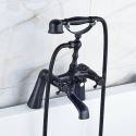 Antique Black Clawfoot Bath Tub Mixer Tap 2 Handle Shower Faucet Deck Mounted