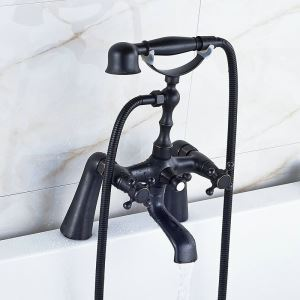 Antique Style Electroplate Black Bathroom Bathtub Faucet