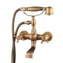 Classic Wall Mounted Bath Tap Filler Antique Brushed Finish Bathtub Faucet With Hand Sprayer