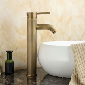 Antique Brushed Finish Bronze-colored Basin Faucet
