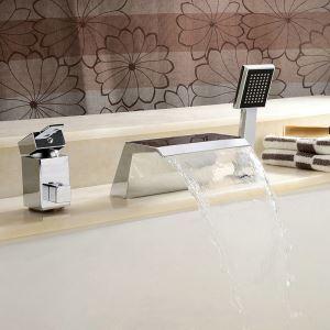 Modern Simple Chrome Plating Bathroom Bathtub Faucet