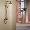 Antique Brass Tub Shower Faucet Exposed Pipe Shower with 8 inch Shower Head + Hand Shower