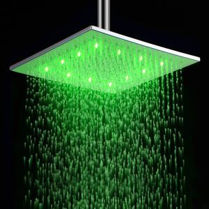 12 inch Brass Shower Head with Color Changing LED Light