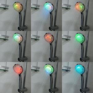 Contemporary Chrome Round Color Changing LED Hanldheld Shower head