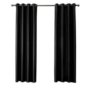 Modern Simple Black Curtain Solid Color Finished Curtains 7 Sizes Available