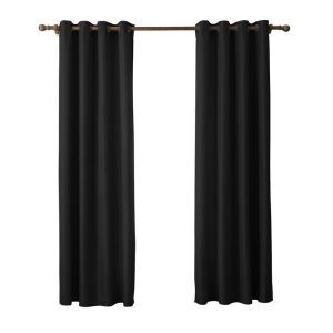 Modern Simple Faux-Silk Doupion Fabric Black Curtain Solid Color Finished Curtains 7 Sizes Available