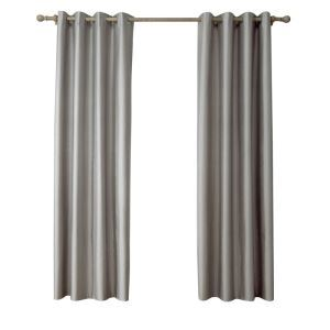 Modern Simple Faux-Silk Doupion Fabric Gray Curtain Solid Color Finished Curtains 7 Sizes Available