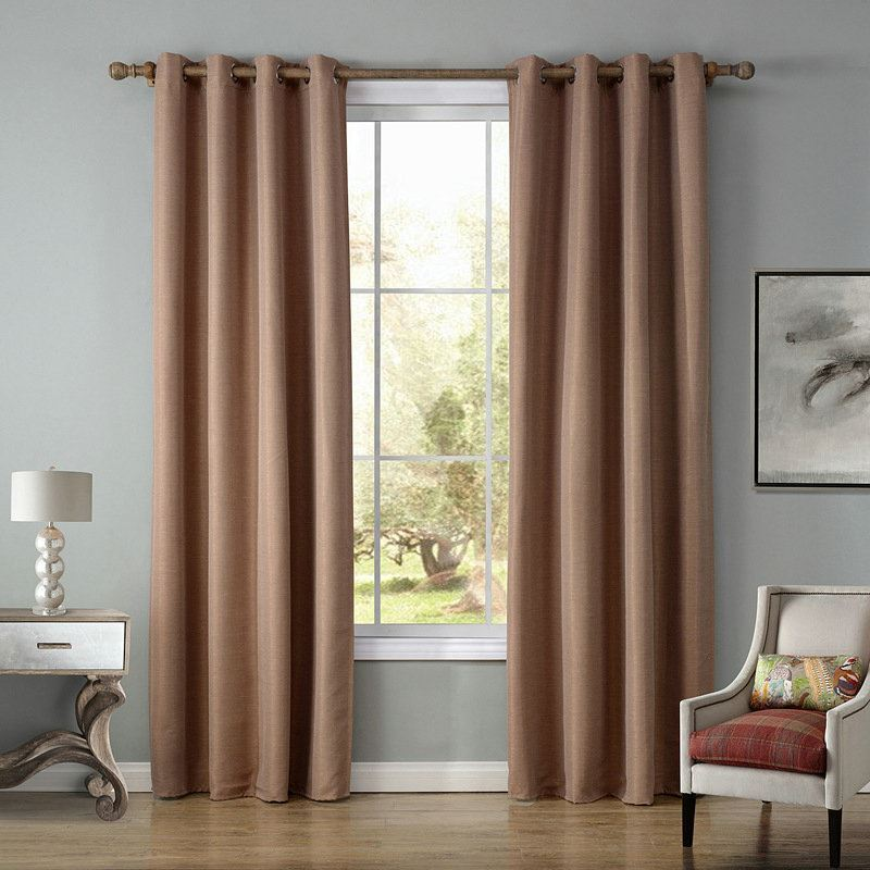 Modern Simple Light Brown Blackout Curtains Finished