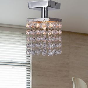 (For Sale) Mini Semi Flush Mount Ceiling Light in Crystal (Chrome Finish)