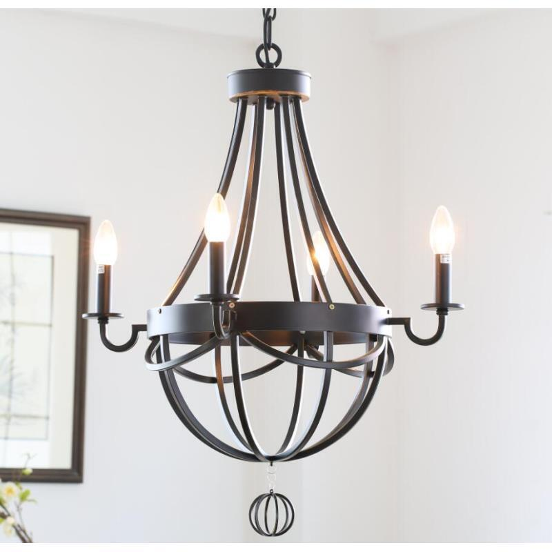 Lighting Ceiling Lights Chandeliers American Country Style Antique Wrought Iron Paint Chandelier Without Lamp Shade