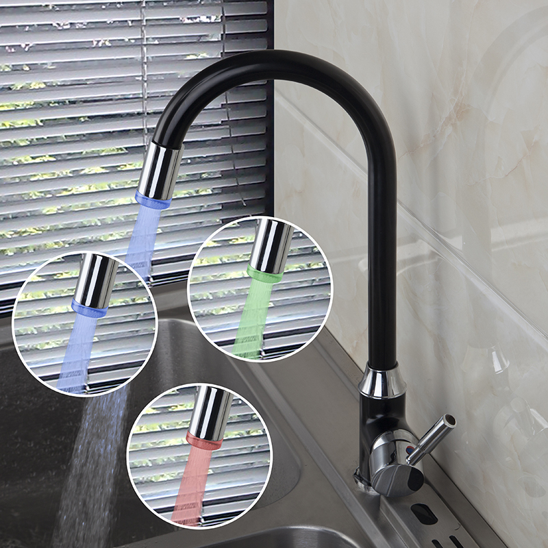 Brass Spring Kitchen Faucet With Color Changing Led Light Ls21