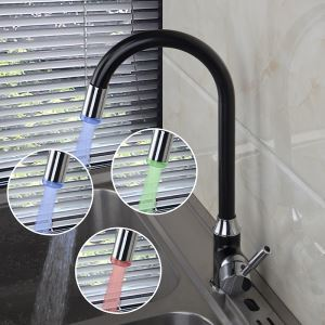 Brass Spring Kitchen Faucet with Color Changing LED Light (LS21)