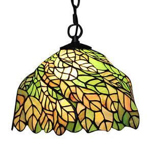 60W Tiffany Glass Pendent Light with Leaves Pattern