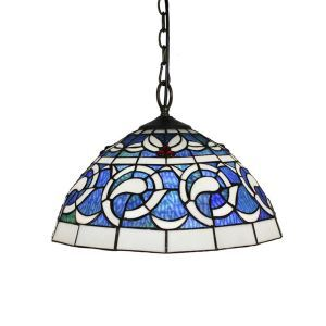 16inch European Pastoral Retro Style Pendant Lights Blue Pattern Glass Shade Bedroom Living Room Dining Room Kitchen Lights