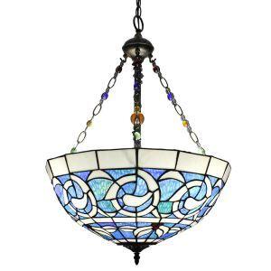 Blue and White Pendant Light European Tiffany Chandelier Bedroom Living Room Dining Room Kitchen Light
