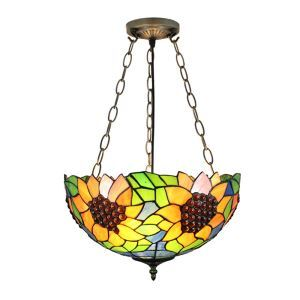 16inch European Pastoral Retro Style Chandeliers Sunflower Pattern Glass Shade Bedroom Living Room Dining Room Kitchen Lights