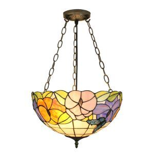16inch European Pastoral Retro Style Chandeliers Butterfly Flower Pattern Glass Shade Bedroom Living Room Dining Room Kitchen Lights